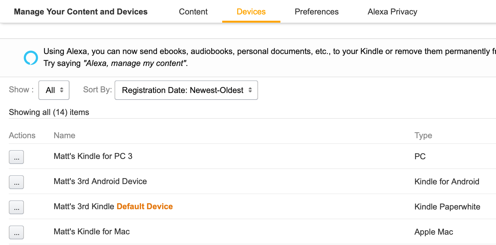 """To deauthorize a device on Amazon, for example, you have to log into your account, go to """"Your Content and Devices"""" (under the """"Your Account & Lists"""" menu at the top-right of every page), and then select the device you want to deauthorize from the Actions column."""
